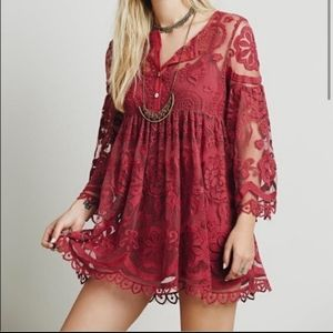 Jen's Pirate Booty For Free People Red Lace Dress